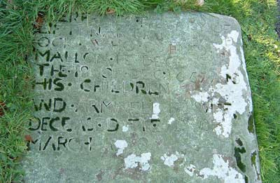 portion of haddock's gravestone showing lettering