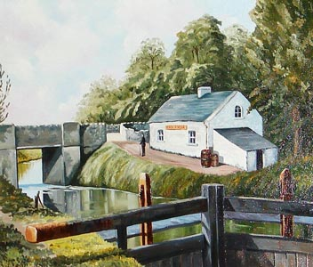 Cottage showing lock gates and Drum Bridge