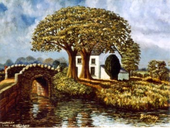 photo of a painting of a 2 storey whitewashed house hiding behind 2 large mushroom shaped trees. To the left of the picture is a hump back bridge with a rough stone edging.
